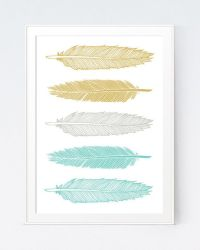 Mustard Turquoise Feathers Art, Green and Gold Wall