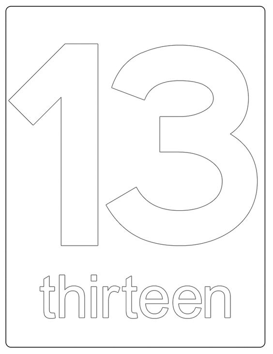 Number 13, Numbers and Printable numbers on Pinterest