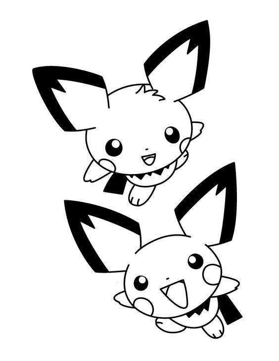 Pin Pikachu And Pichu Coloring Pages