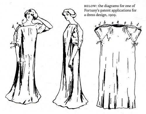 Fortuny patent application for a dress design, 1909