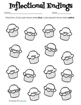 Inflectional endings, Worksheets and Coloring pages on