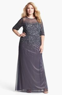 Adrianna Papell Beaded Illusion Gown (Plus Size) available ...