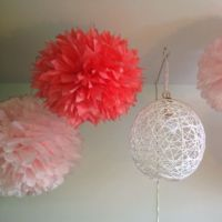 Tissue paper poofs and yarn lamp | Craft Ideas | Pinterest ...