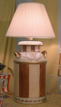 Vintage Milk Can Lamp in Brown Balloon hand painted tole # ...