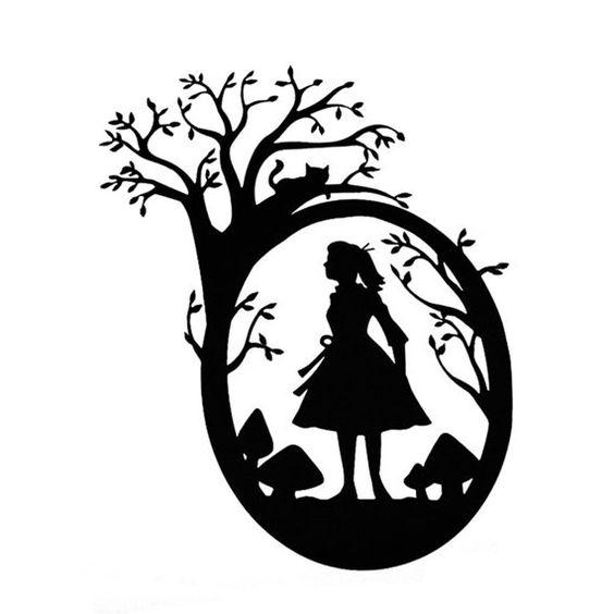 Alice Silhouette Cut Paper Art Scherenschnitte Alice In