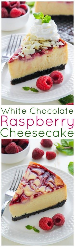 Creamy White Chocolate Raspberry Cheesecake Dessert Recipe via Baker By Nature, complete with a homemade chocolate cookie crust and fresh whipped cream. This one is a showstopper!