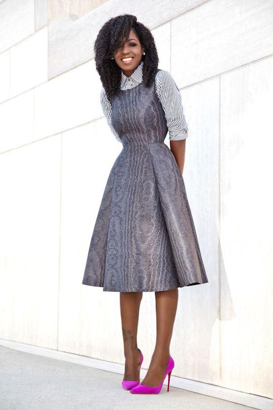 Striped Shirt + Fit & Flare Midi Dress: