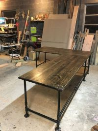 Industrial Pipe L-Shaped Desk | Stains, Industrial and Trays