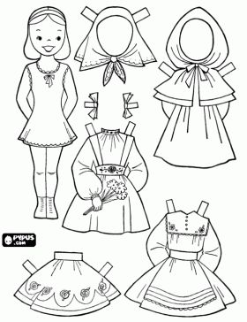 Paper doll with traditional French dresses coloring page