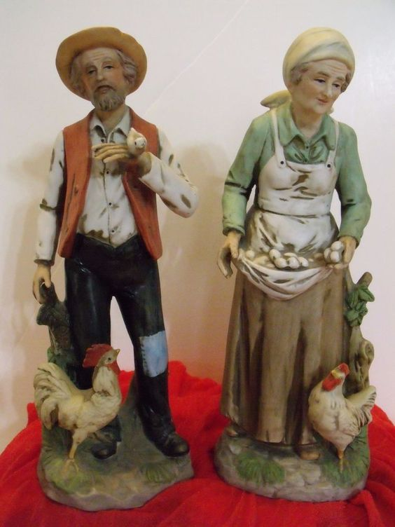 LIFE ON THE FARM Old Man Amp Old Lady Pair Porcelain