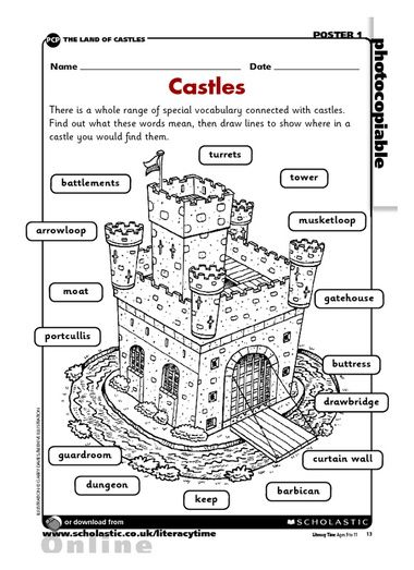 Castles, Worksheets and Vocabulary on Pinterest