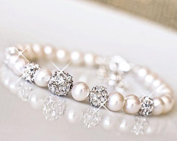 Freshwater Pearl, Rhinestone Wedding Bracelet. Bridal