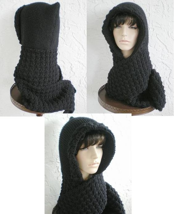 hand knit hood scarf hat crochet scarf scoodie womens