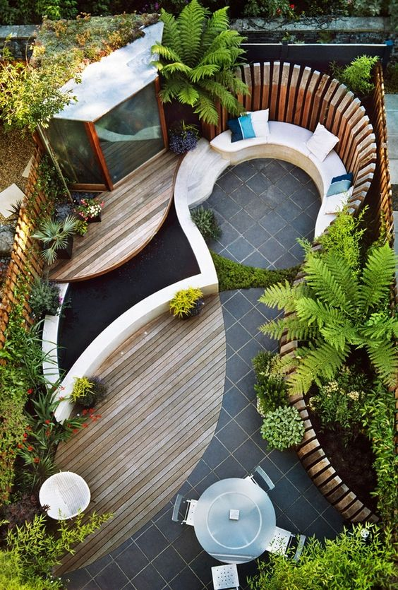 Super cool ideas for smaller yards... The examples shared below are all small space gardens on a rectangular plot of land approximately 5 – 10m2 in size and illustrate how through clever landscape design and a little imagination, small space gardens can have no boundaries:
