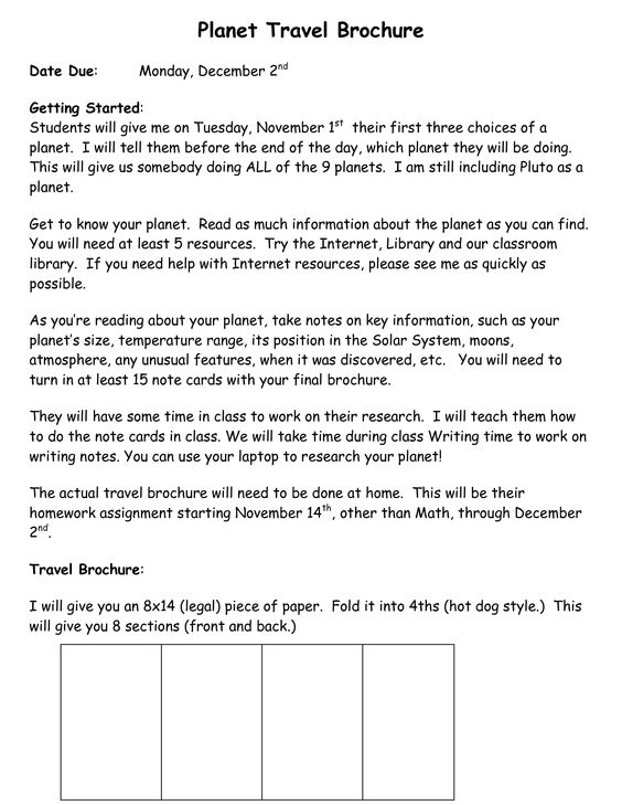 Planet Travel Brochure Doc Rubrics & Projects