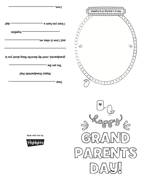 Free printable card for National Grandparents Day! (Sunday