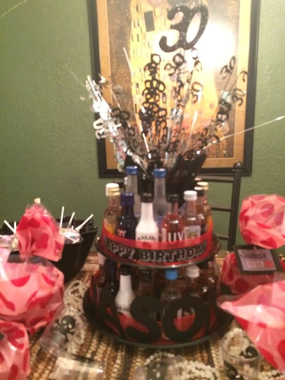 30th Birthday Mini Liquor Bottle Cake Birthday Ideas