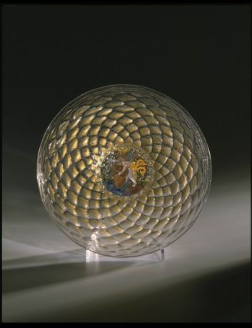 Murano Mold-blown Glass Shallow Footed Dish. 1475-1525 Venice. After the  Enamel was applied it was re-fired fusing it with the glass. Applied gilt.  Italian: