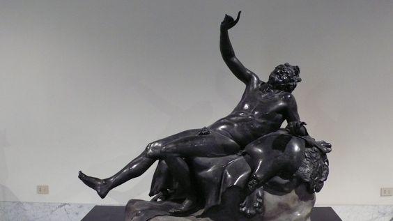 Statue of a drunken Satyr from the  Villa dei Papiri near  Herculaneum, National Archaeological Museum of Naples.: