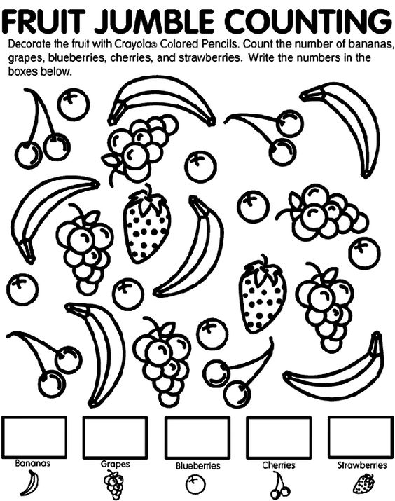 Coloring pages, Count and Fruit on Pinterest