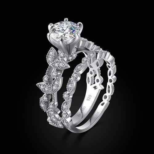 Rose's Ring  Vancaro Leaf Design Sterling Silver White
