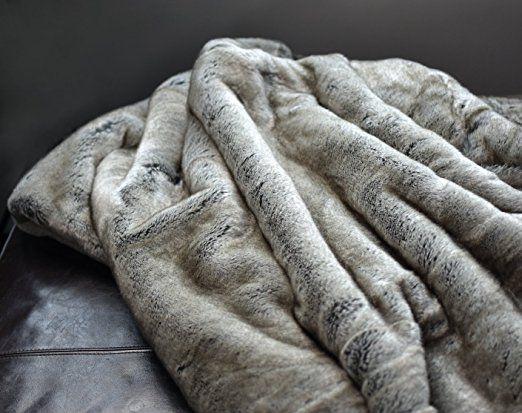 Amazoncom Luxury Faux Fur Throw Blanket Super Soft