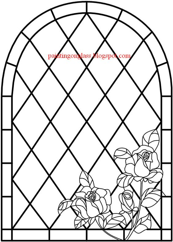 painting on glass: Stained Glass Entrey Door with Roses