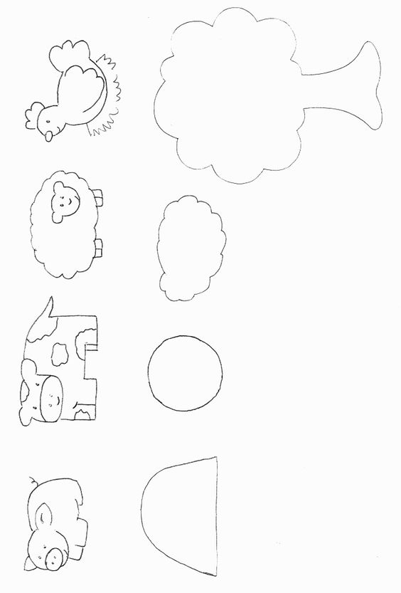 Farm Animals Template. This would make a cute felt board