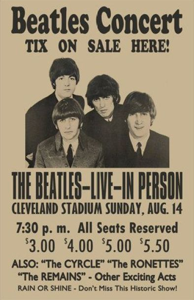 Beatles 1966 Cleveland Concert Poster by ClevelandRockAndRoll: