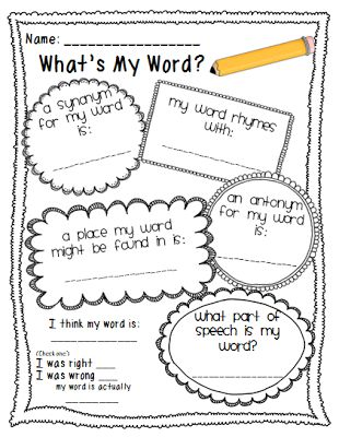 Recording sheets, Words and Vocabulary on Pinterest