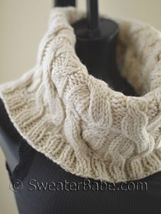 Double Cabled Cowl knitting pattern. Chunky cables!: