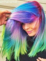 purple green rainbow dyed hair
