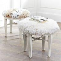Diy Faux Fur Vanity Stool tutorial   CRAFTY >!