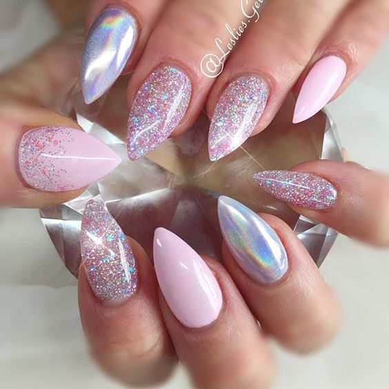 I like the mix of holographic glitter and block colour just don't like pink would it work with black???: