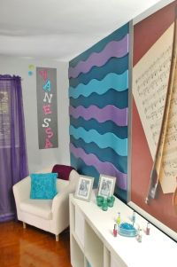 Girls (pre-teen) Bedroom Design--3D Wavy Wall Stripes ...