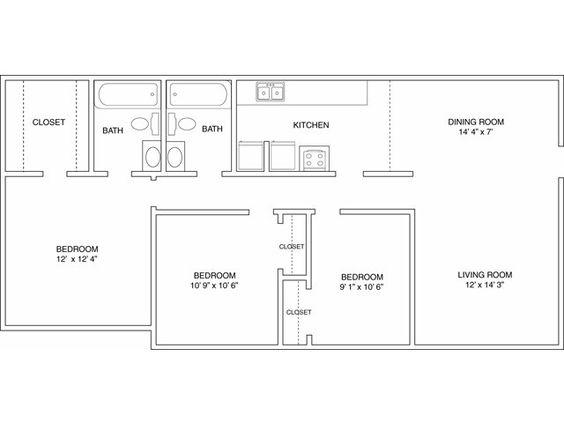 Three Bedroom Floor Plan  Autumn Woods  Pinterest