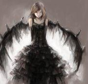 long hair anime and dark angels