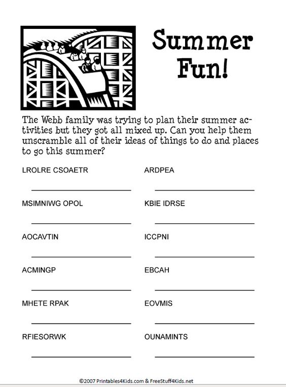 Summer Fun Word Scramble. Printable puzzle for kids