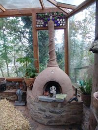 This cob fireplace-rocket stove, can keep your greenhouse ...