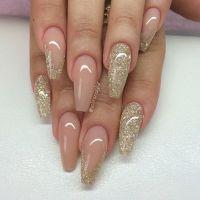 Blush + Gold Glitter Long Coffin Nails #nail #nailart ...