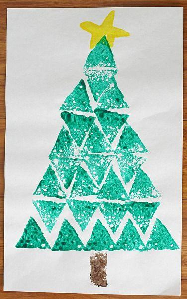 shape christmas tree sponge painting buggy and buddy
