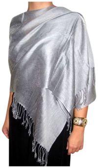 Silver Silken Shawl Wrap Scarf - best silver chiffon shawl ...
