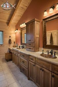 Double vanity master bathroom with vaulted ceilings ...