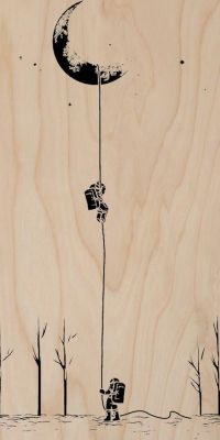 """Reach For The Moon"" Astronauts Climbing - Plywood Wood ..."