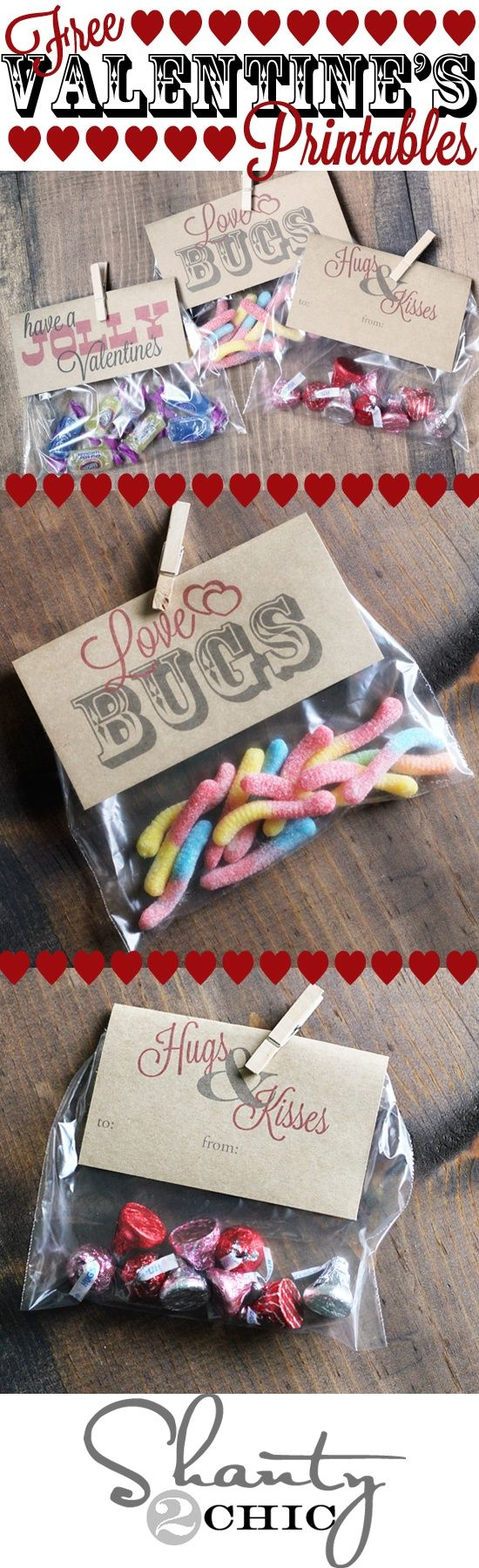 "Valentine's Day party or gift treat topper free printables via Shanty2Chic- ""Have a Jolly Valentines"" for Jolly Ranchers Candy, ""Love Bugs"" for gummy worms and bugs candies and ""Hugs and Kisses"" for Hershey's Kisses! I'm definitely doing this for the kids this year"
