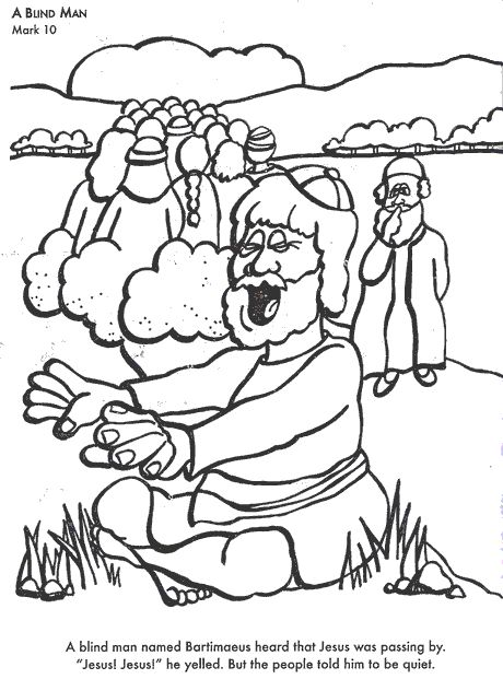 A Blind Man Bible coloring page for Kids to Learn bible