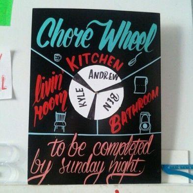 A chore wheel is a great DIY dorm room decor idea!