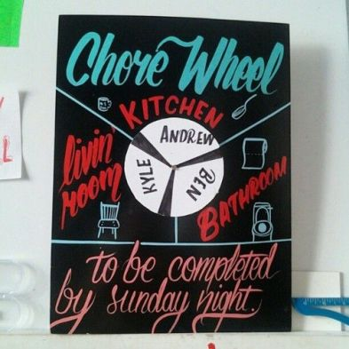 A chore wheel is a great DIY dorm room decor idea!