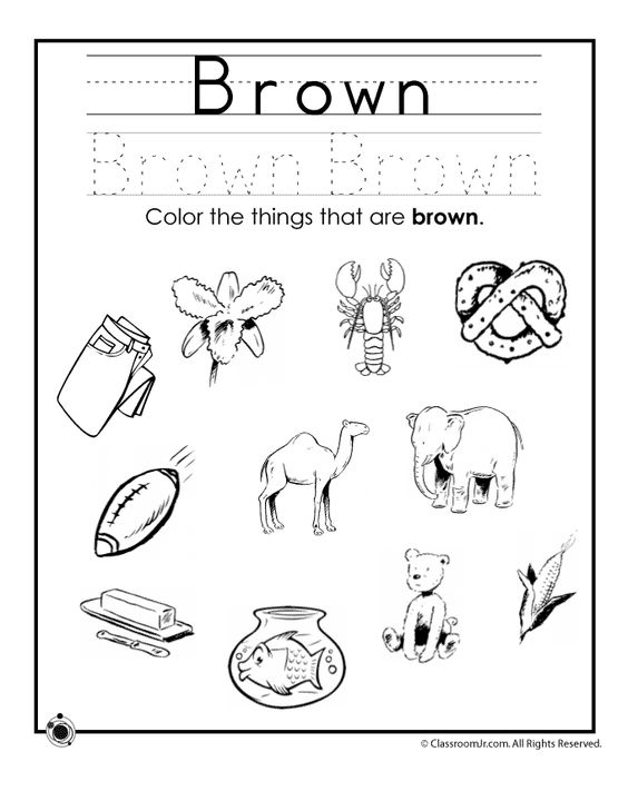 Learning Colors Worksheets for Preschoolers Color Brown