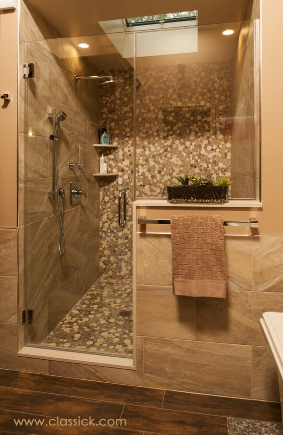 Shower wall tile 12x24 earth tone porcelain with built in